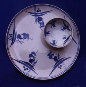 """Swan-Blue"" ceramic dinner ware."